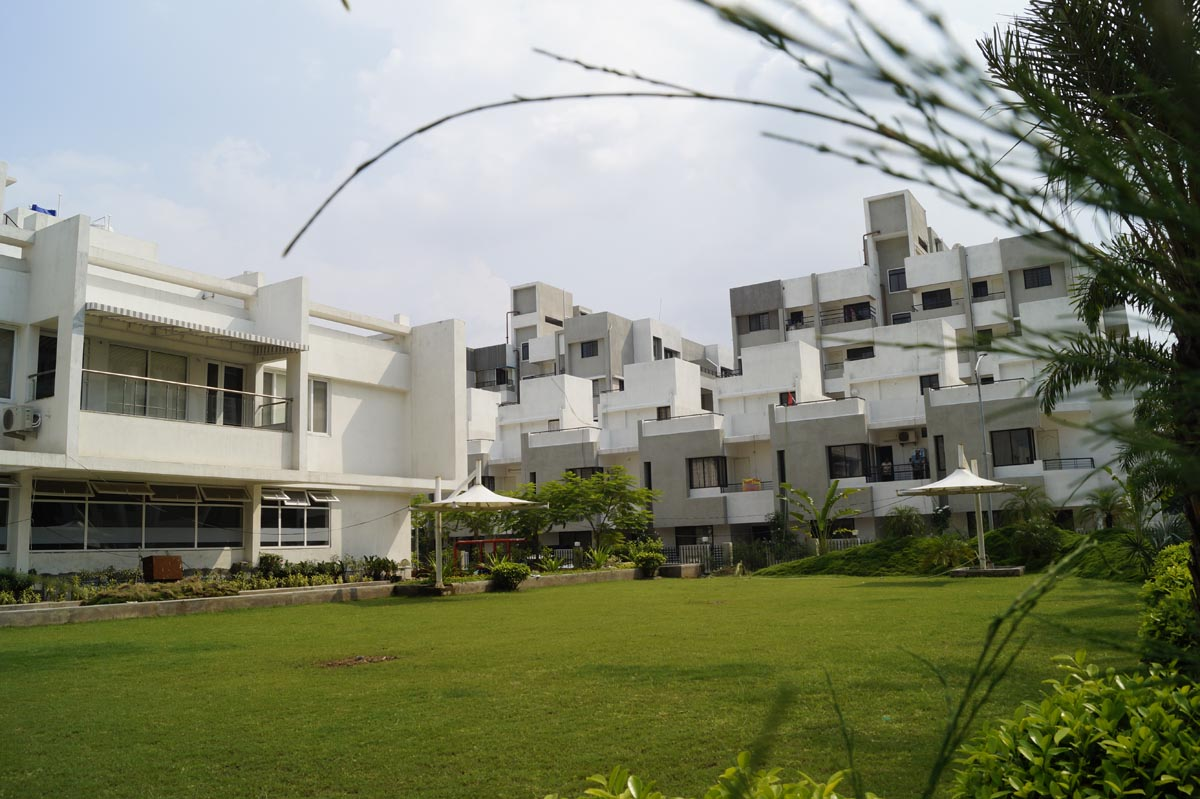 row houses and garden