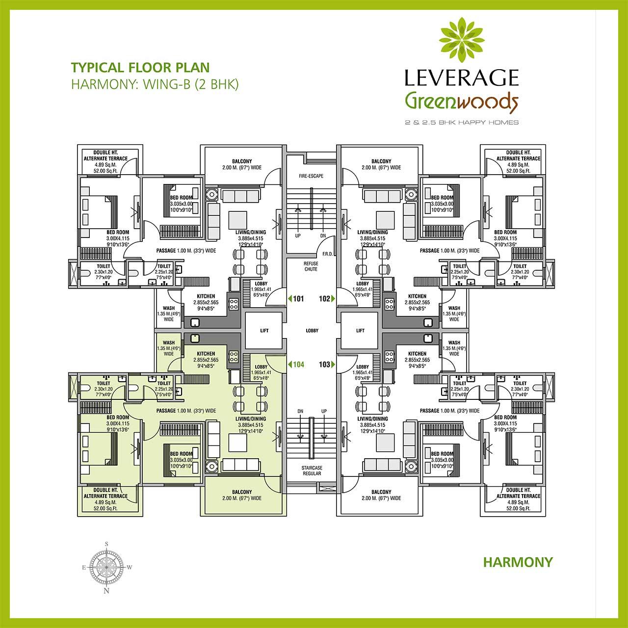 leverage-greenwood-harmony-2bhk-floor-plan